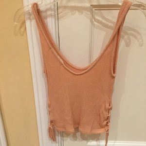 Urban outfitters crop tank top lace up orange